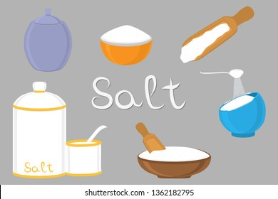 Illustration on theme big set different types filled salty salt, colored bowl various size. Salty salt pattern consisting of collection bowl for organic cooking. Eco salty salt in bowls for menu cafe.