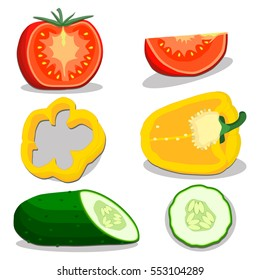 Illustration on theme big set different types vegetables, cucumber and other isolated on white background. Vegetable pattern consisting of raw green cucumber. Eat fresh vegetable cucumber to health.