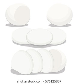 Illustration on theme big set different types cheese mozzarella various size. Cheese pattern consisting of collection meal mozzarella for real gourmet. Restaurant menu it yummy cheese mozzarella.