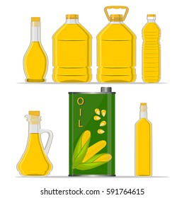 Illustration on theme big set different shape jar with cap from liquid corn oil. Jar consisting of collectible natural food corn, accessory for natural oil. Drink fresh corn oil of original eco jar.