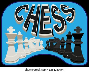 Illustration on the theme of the board game of chess. The six main chess pieces are white and black. Curved inscription words chess with chess pieces.