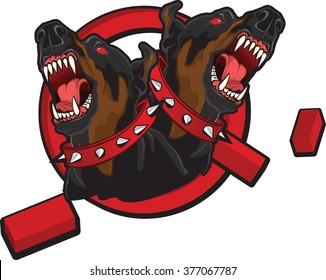 """Illustration on the theme of """"breaking taboos""""  Tattoo style image of two dobermans breaking prohibition sign."""