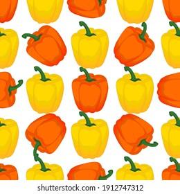 Illustration on theme of bright pattern bell pepper, vegetable capsicum for seal. Vegetable pattern of beautiful bell pepper, many capsicum. Simple colorful vegetable pattern from capsicum bell pepper