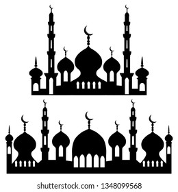 Illustration on theme different types mosques, minaret to celebration holiday Ramadan. Mosque pattern consisting of big set religious collection minaret Ramadan. Minaret mosque for happy day Ramadan.
