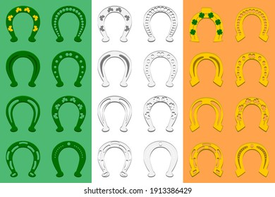 Illustration on theme Irish holiday St Patrick day, set color horseshoes. Pattern St Patrick day consisting of many different horseshoes on background. Horseshoes it main accessory for St Patrick day.