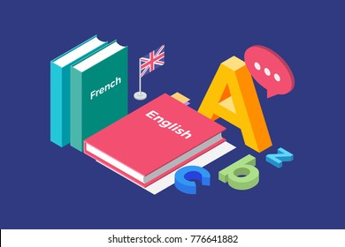 Illustration on theme of learning and teaching of foreign languages. Image textbooks in French and English, England flag and letters of Latin alphabet. 3d isometric flat design. Vector illustration.