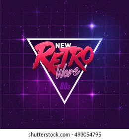 Illustration on a theme - new retro wave. background, sticker
