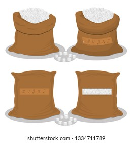 Illustration on theme set different types sacks filled cubes sugar, bags various sizes. Sack pattern consisting of collection bags cubes sugar for organic feed. Full sack cube sugar, storage in bag.