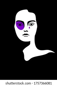 Illustration on the topic of domestic violence in a minimalistic style.  Woman with a black eye and a tear. Can be used as a poster. Violet black and white colour.