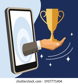 illustration on the topic of online education. a hand with an honorary cup is stretched out from the smartphone screen. successful completion of the online training course. stock vector illustration.