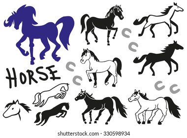 illustration on a transparent background, icons and drawings different horse
