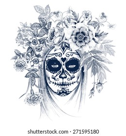 Illustration on white background. Day of the Dead. Vintage. Girl and flowers. Black and white.