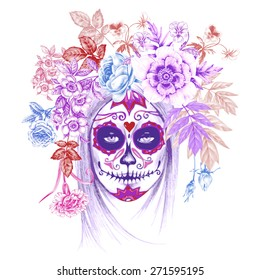 90711b264 Illustration on white background. Day of the Dead. Vintage. Girl and flowers .