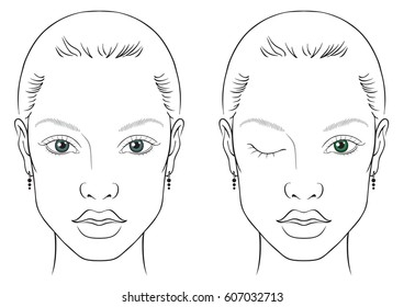 illustration on a white background outline of the human female face for makeup