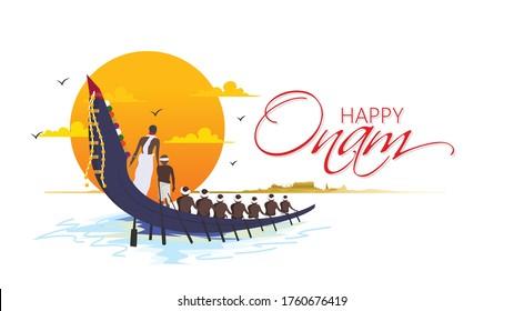 illustration of Onam festival,    snakeboat race in Onam celebration background for Happy Onam festival of South India Kerala
