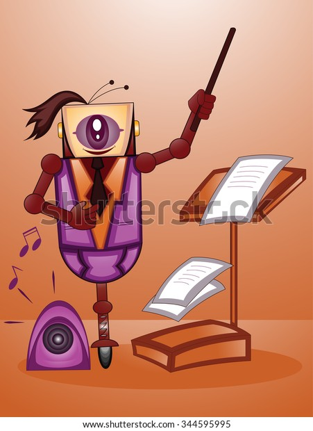 Illustration of one eyed robot working as music composer