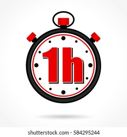 Illustration of one hour stopwatch on white background
