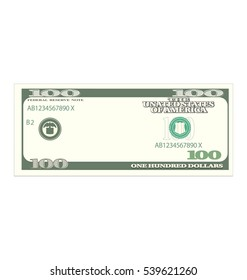 Illustration One Hundred Dollars Isolated on White Background, Banknote - Vector
