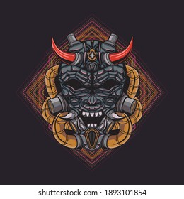 Illustration of Oni mecha devil head with geometric pattern. suitable for the design of t-shirts, stickers, mechendise, etc.