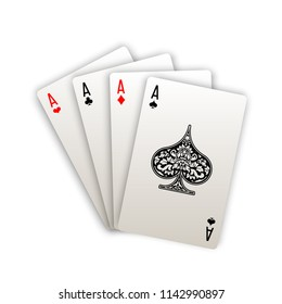 illustration Online casino banner with playing cards poker hands Isolated white background surface table. Marketing Luxury Banner Jackpot Online Casino with poker hand Advertising poster playing cards