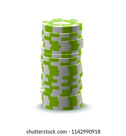illustration Online Poker casino banner with stack of chips Isolated on white background. Marketing Luxury Banner Jackpot Online Casino with stack of chips. Advertising Poker poster.