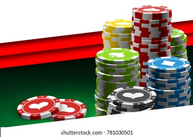 illustration Online Poker casino banner with a chips and dice. Marketing Luxury Banner Jackpot Online Casino with flat paper cloud for text. Empty advertising poster.