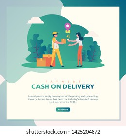 Illustration of online shop, e-commerce, or marketing with the theme of cash on delivery (COD) payment