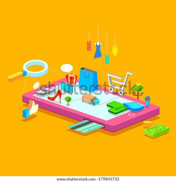 illustration of online shopping concept on mobile phone