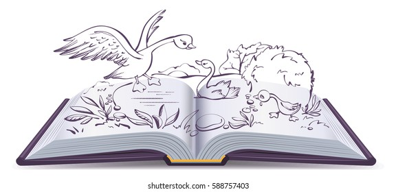 Illustration open book fairy tale of ugly duckling. Isolated on white vector cartoon illustration
