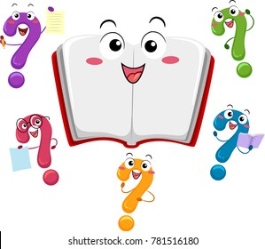 Illustration of an Open Book Mascot Surrounded by Different Question Mark Mascots