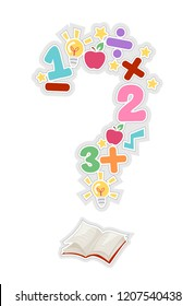 Illustration of an Open Book with Numbers and Math Elements Forming a Question Mark