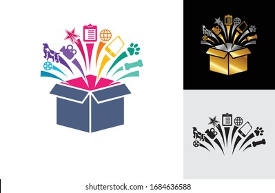 an illustration of open box with suprise  item come up from it