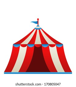 Illustration open circus stripe tent isolated on white background - vector