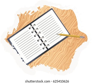 Illustration of an open notepad and pencil on the table