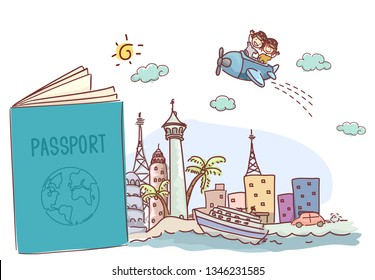 Illustration of an Open Passport with Travel Doodles and Stickman Kids Riding an Airplane
