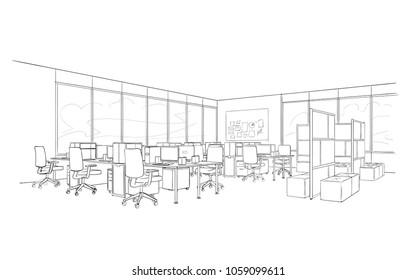 Illustration of open space interior. Modern office.
