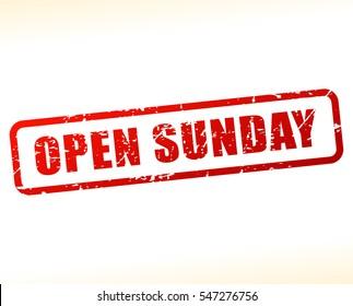 Illustration of open sunday text
