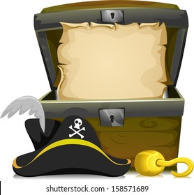 Illustration of an Open Treasure Chest with an Empty Scroll Inside and a Pirate Hat and a Hook in Front