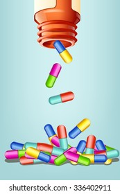 illustration of opened bottle with different color pills falling in the heap