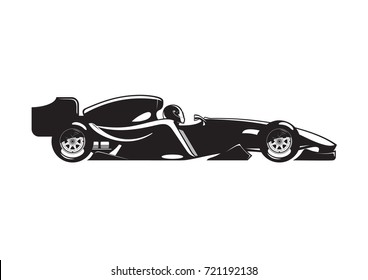 illustration of open-wheel car. Isolated on white background.Side view.