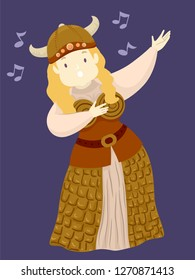 Illustration of an Opera Singer Wearing Viking Costume Singing and Performing in a Show