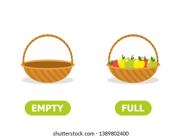 Illustration of opposites. Full and empty basket.