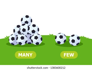 Illustration of opposites. Many and few soccer balls. Card for teaching aid, for a foreign language learning. Vector illustration on white background.