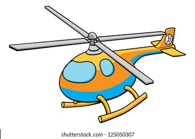An illustration of an orange and blue cute children�¢??s toy helicopter