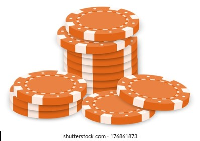 Illustration of the orange poker chips on a white background
