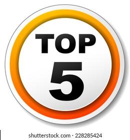illustration of orange round icon for top five