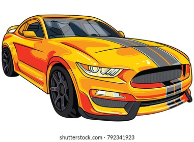 Illustration of orange  sport car Mustang with two gray strips on car hood . All illustrations are easy to use and highly customizable, logical layered to fit your needs.