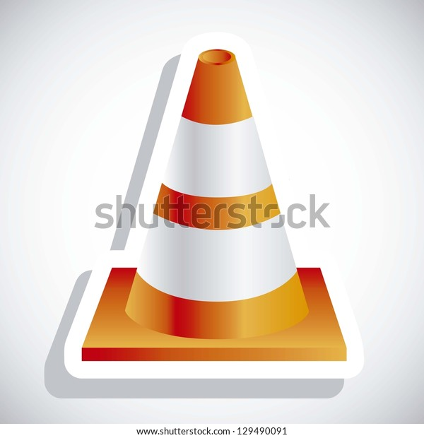 Illustration of orange traffic cones on white background, vector illustration