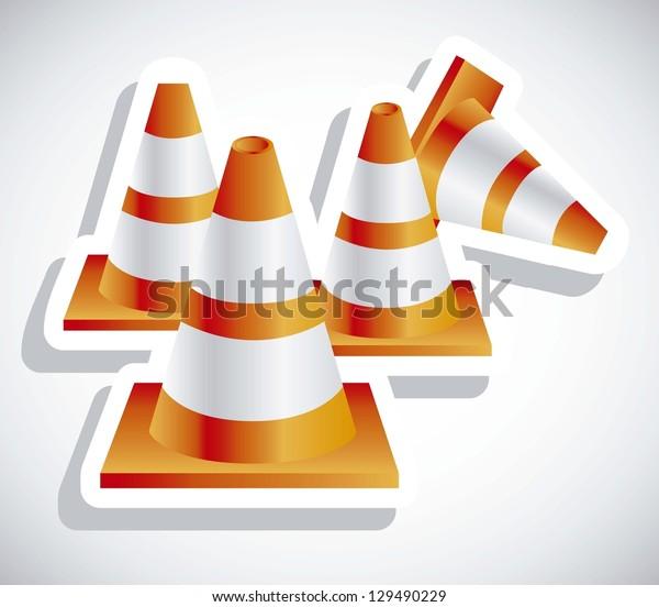 Illustration of orange traffic cones on white background, vector illustration