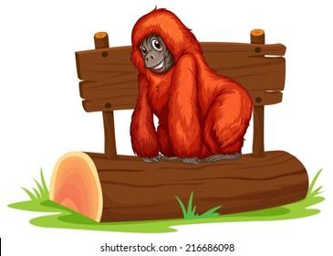 Illustration of an orangutan on a log
